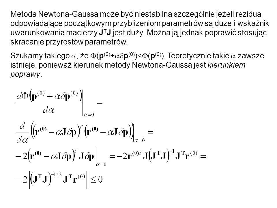 Metoda Newtona-Gaussa może być niestabilna szczególnie jeżeli rezidua odpowiadające początkowym przybliżeniom parametrów są duże i wskaźnik uwarunkowa