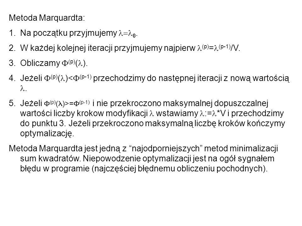 Metoda Marquardta: 1.Na początku przyjmujemy. 2.W każdej kolejnej iteracji przyjmujemy najpierw (p) = (p-1) /V. 3.Obliczamy (p) ( ). 4.Jeżeli (p) ( )<