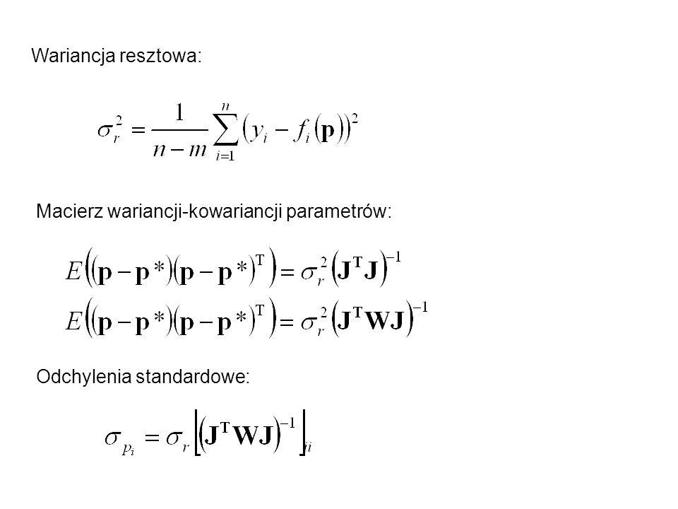 Macierz wariancji-kowariancji parametrów: Wariancja resztowa: Odchylenia standardowe: