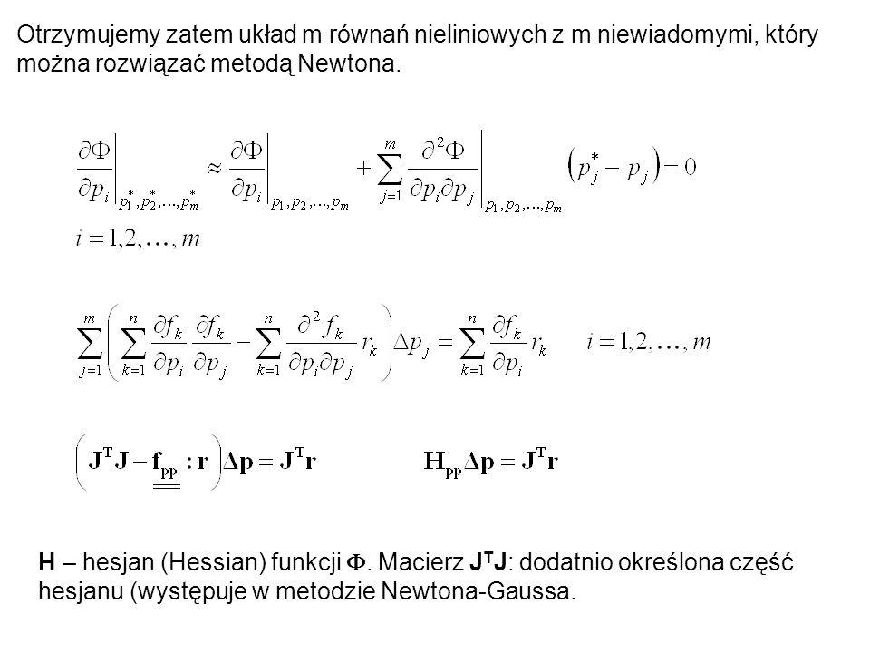 Otrzymujemy zatem układ m równań nieliniowych z m niewiadomymi, który można rozwiązać metodą Newtona. H – hesjan (Hessian) funkcji. Macierz J T J: dod