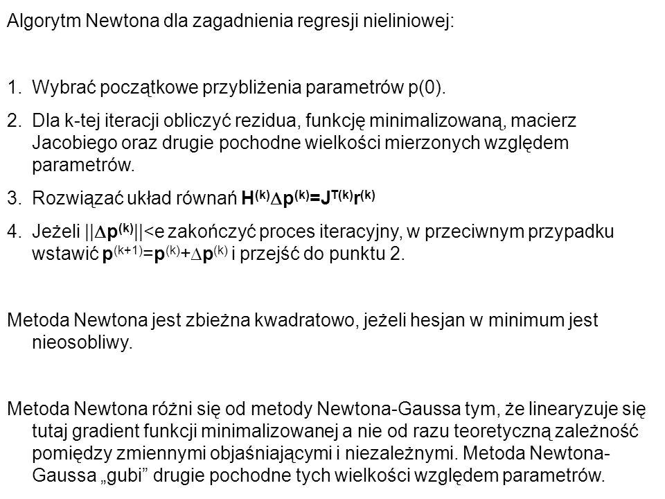 Algorytm Newtona dla zagadnienia regresji nieliniowej: 1.Wybrać początkowe przybliżenia parametrów p(0). 2.Dla k-tej iteracji obliczyć rezidua, funkcj