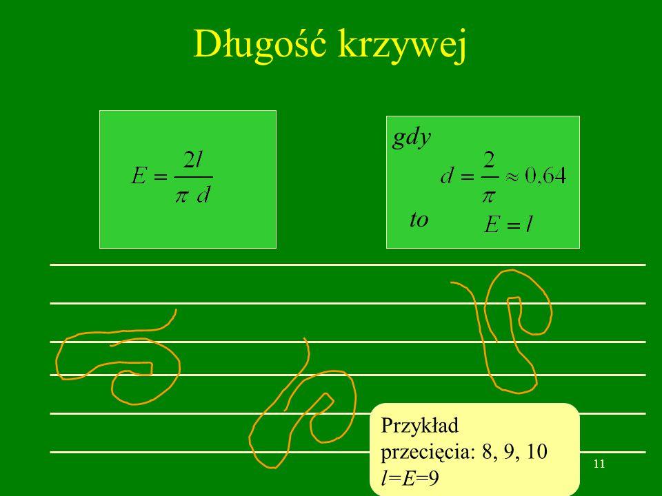 11 Długość krzywej gdy to Przykład przecięcia: 8, 9, 10 l=E=9
