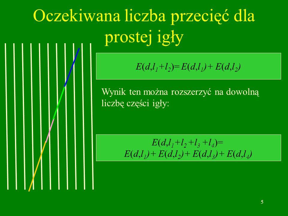 5 Oczekiwana liczba przecięć dla prostej igły E(d,l 1 +l 2 )= E(d,l 1 )+ E(d,l 2 ) Wynik ten można rozszerzyć na dowolną liczbę części igły: E(d,l 1 +