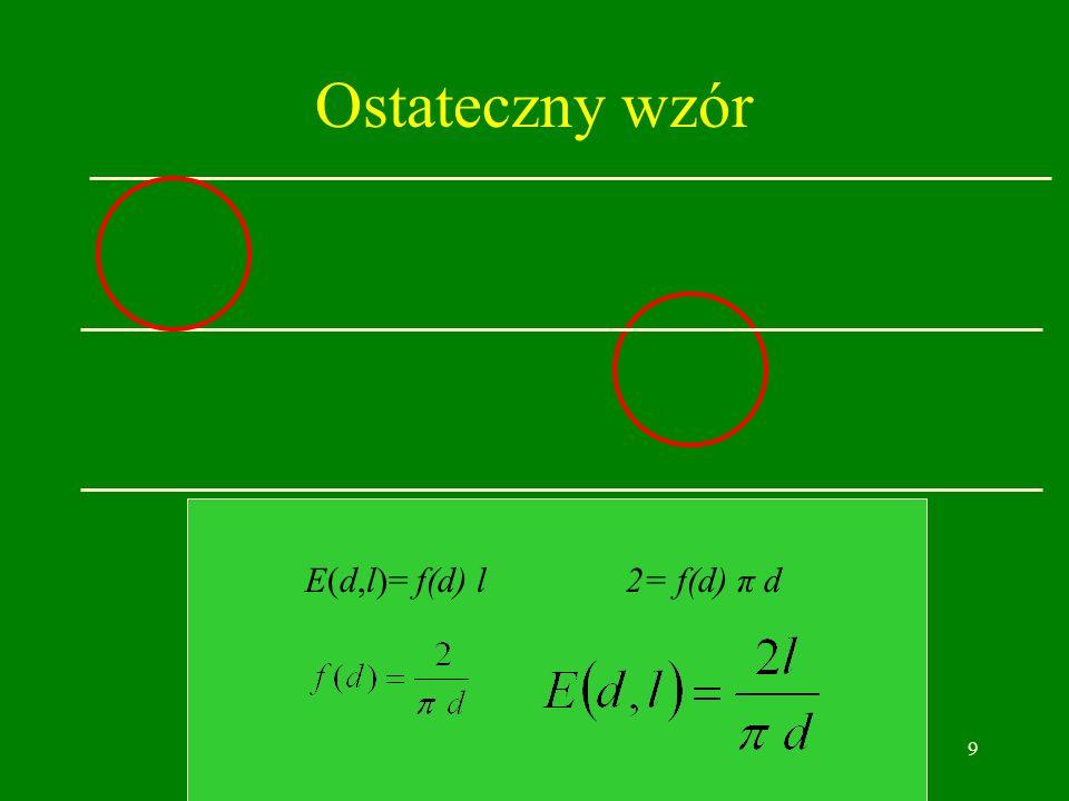 9 Ostateczny wzór E(d,l)= f(d) l 2= f(d) π d