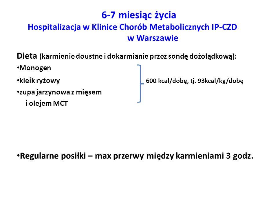 6-7 miesiąc życia Hospitalizacja w Klinice Chorób Metabolicznych IP-CZD w Warszawie Dieta (karmienie doustne i dokarmianie przez sondę dożołądkową): M