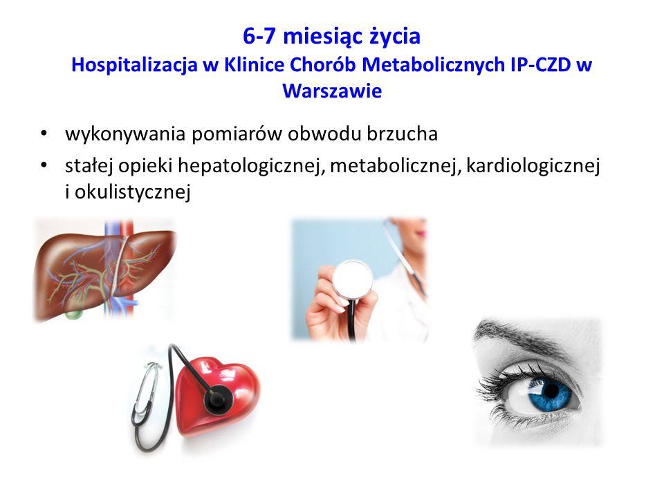 6-7 miesiąc życia Hospitalizacja w Klinice Chorób Metabolicznych IP-CZD w Warszawie wykonywania pomiarów obwodu brzucha stałej opieki hepatologicznej,
