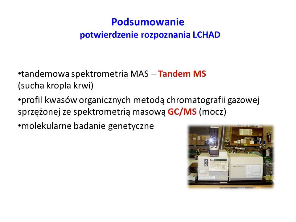 Podsumowanie potwierdzenie rozpoznania LCHAD tandemowa spektrometria MAS – Tandem MS (sucha kropla krwi) profil kwasów organicznych metodą chromatogra