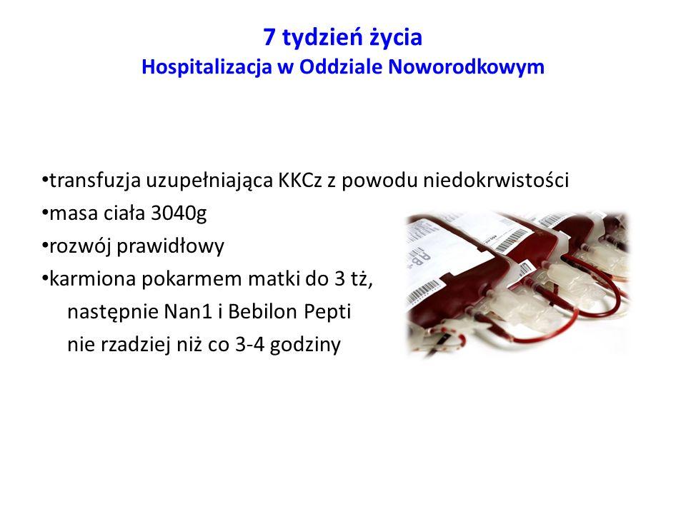 6 miesiąc życia Hospitalizacja w Klinice Pediatrii, Endokrynologii, Diabetologii, Chorób Metabolicznych i Kardiologii PUM bilirubina całkowita 15,9 mg/dl, związana 15 mg/dl ALT 147 U/L, AST 475 U/L, GGTP 169 U/L albuminy 2,5 g/dl białko całkowite 3,8 g/dl układ krzepnięcia: APTT-nieoznaczalne, INR 2,52 lipidogram: cholesterol całk.