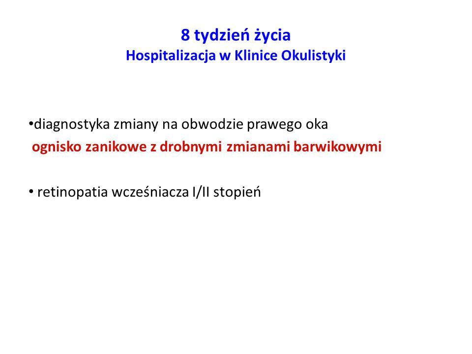 6-7 miesiąc życia Hospitalizacja w Klinice Chorób Metabolicznych IP-CZD w Warszawie wykonywania pomiarów obwodu brzucha stałej opieki hepatologicznej, metabolicznej, kardiologicznej i okulistycznej
