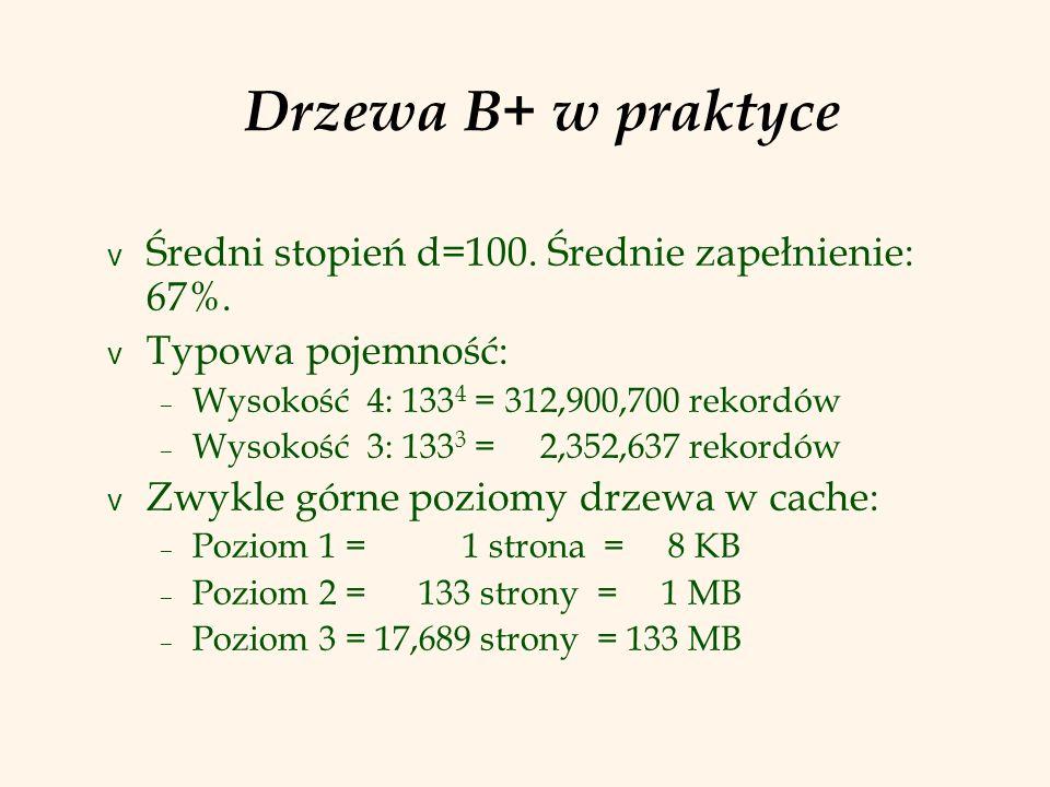 Wstawienie pozycji danych do B+ drzewa v Wyznacz odpowiedni liść L.
