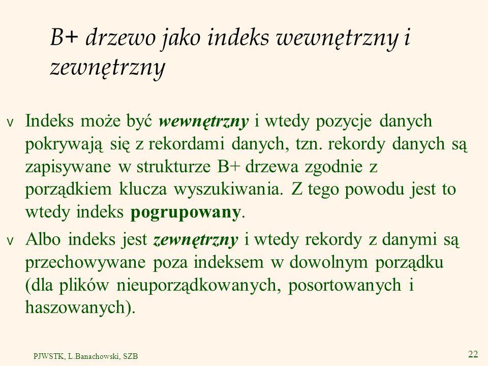 23 PJWSTK, L.Banachowski, SZB Strategia zastępowania ramek dla stron B+ drzewa LRU nie jest tu dobrą metodą.