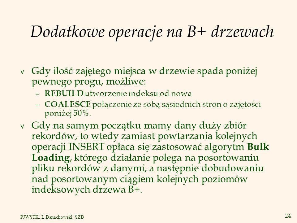 25 PJWSTK, L.Banachowski, SZB Dlaczego nie używamy B-drzew.