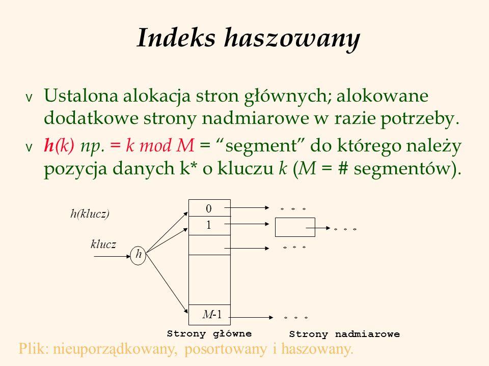 28 PJWSTK, L.Banachowski, SZB Indeks haszowany z uporządkowanymi segmentami Wariant w którym pozycje danych są uporządkowane względem wartości klucza wyszukiwania.