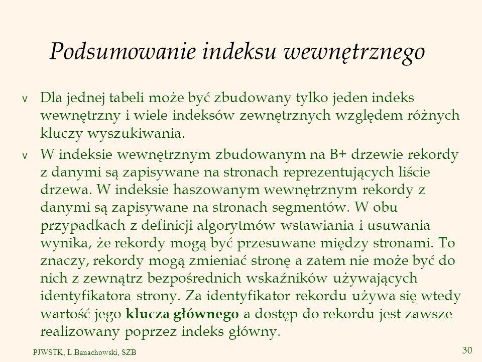 31 PJWSTK, L.Banachowski, SZB Indeks wewnętrzny – 2 przypadki v Indeks główny jest indeksem wewnętrznym.