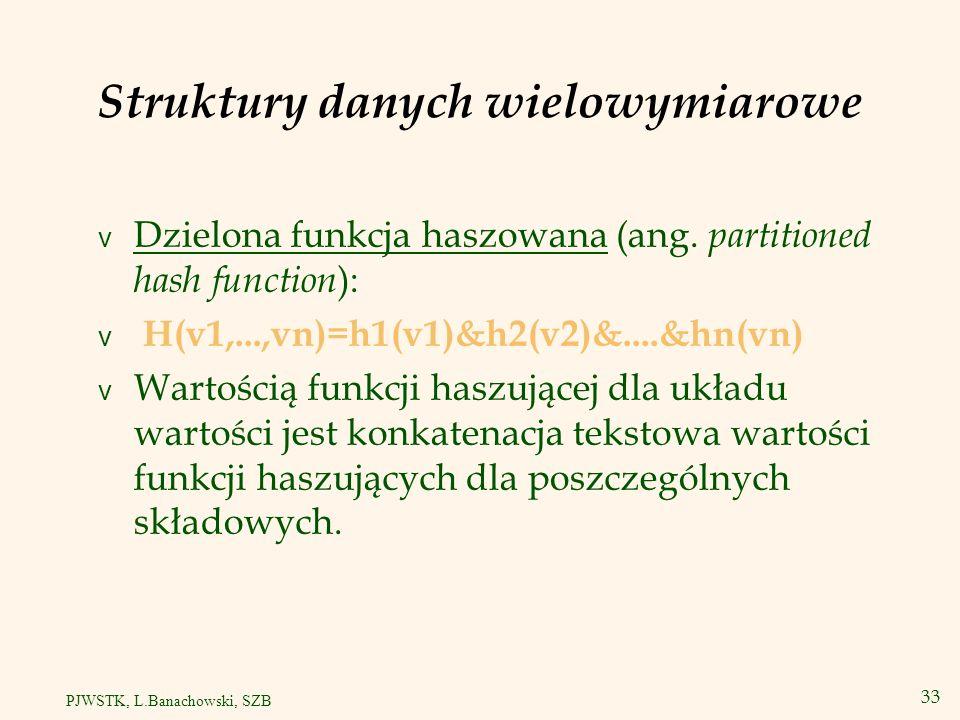 34 PJWSTK, L.Banachowski, SZB Drzewa wielowymiarowe v R drzewa są uogólnieniem B drzew do n wymiarów.