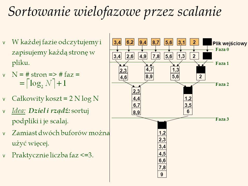 Sortowanie za pomocą B+ drzewa v Warunek: Tabela ma indeks na B+ drzewie względem kolumn sortowania.