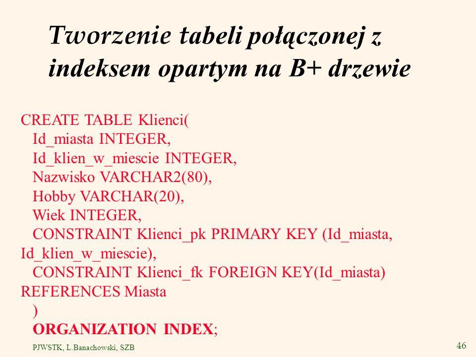 47 PJWSTK, L.Banachowski, SZB Indeks haszowany Przykład zastosowania indeksu haszowanego dla klucza głównego Id_konta tabeli: Konta(Id_konta, Saldo, Imie, Nazwisko, Adres) Zakładamy, że tabela Konta zawiera bardzo dużo wierszy oraz że często wielu kasjerów w banku równocześnie wykonuje zapytanie: SELECT * FROM Konta k WHERE k.Id_konta = :numer;