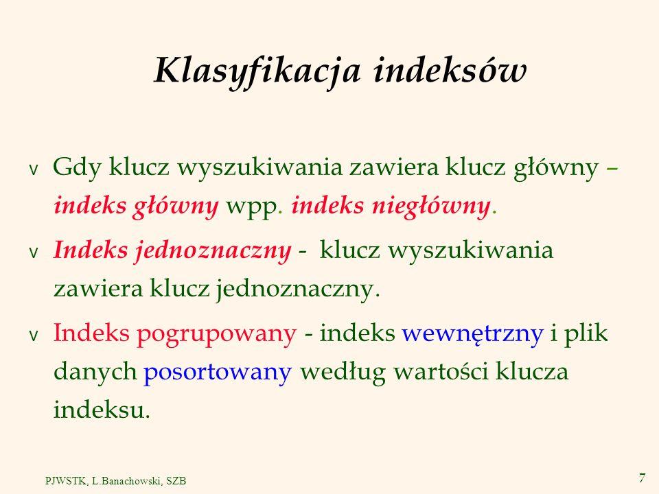 8 PJWSTK, L.Banachowski, SZB Indeks pogrupowany v Pozycje danych (czyli rekordy danych) są zapisane w kolejności uporządkowanej względem wartości klucza indeksu.