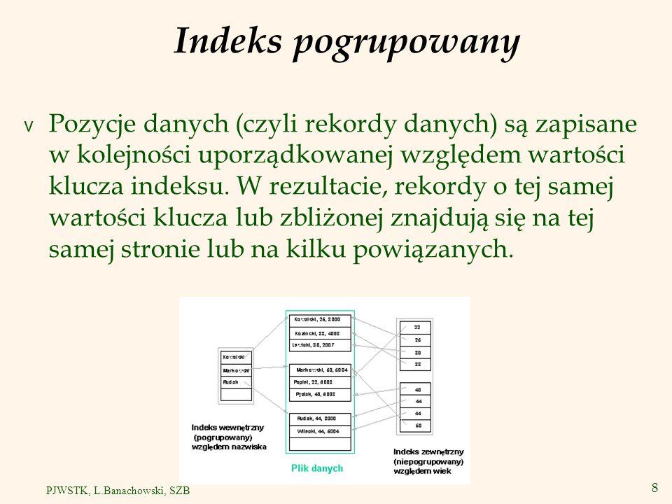 9 PJWSTK, L.Banachowski, SZB Indeksy wewnętrzne i zewnętrzne v Indeks wewnętrzny haszowany = indeks wewnętrzny i plik danych haszowany.