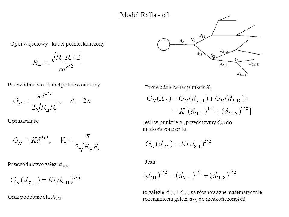 Opór wejściowy - kabel półnieskończony Przewodnictwo - kabel półnieskończony Upraszczając Przewodnictwo gałęzi d 3111 Oraz podobnie dla d 3112 Przewodnictwo w punkcie X 3 Jeśli w punkcie X 3 przedłużymy d 211 do nieskończoności to Jeśli to gałęzie d 3111 i d 3112 są równoważne matematycznie rozciągnięciu gałęzi d 211 do nieskończoności.