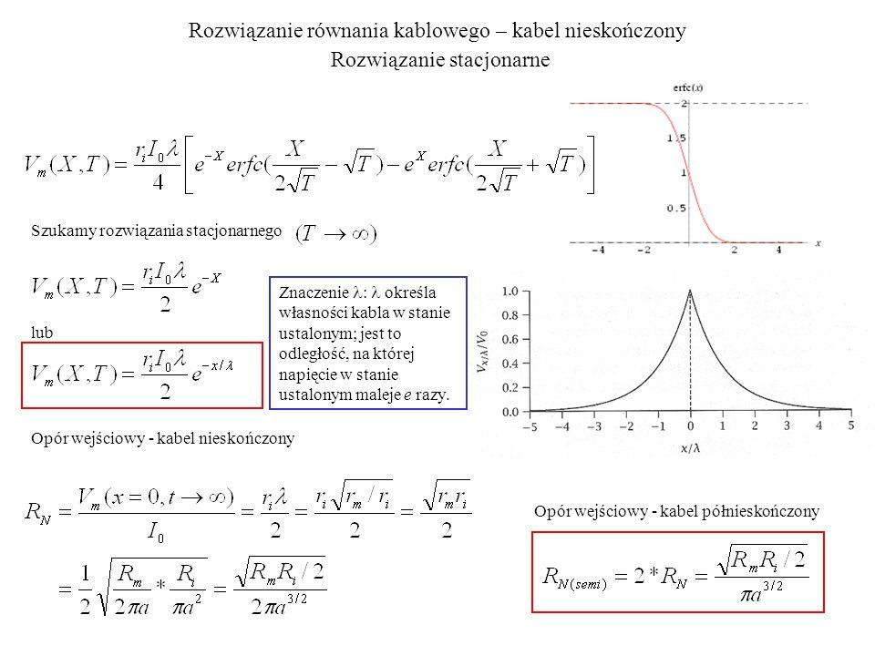Rozwiązanie równania kablowego – kabel nieskończony Rozwiązanie przejściowe Szukamy rozwiązania przejściowego dla X = 0 Kabel nieskończony Kabel półnieskończony