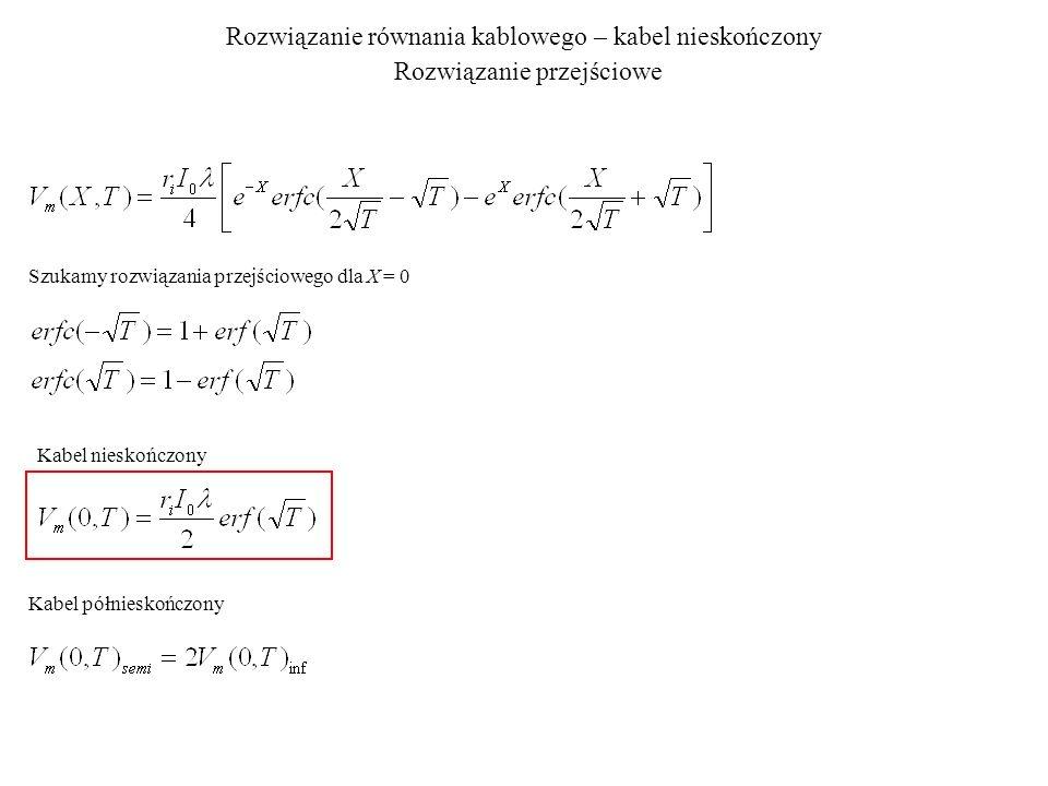 Rozwiązanie równania kablowego – kabel nieskończony Rozwiązanie przejściowe Szukamy rozwiązania przejściowego dla X = 0 Kabel nieskończony Kabel półni