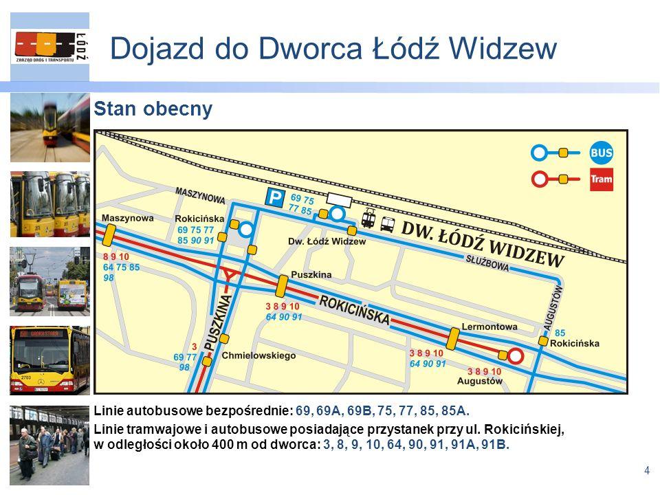 4 Dojazd do Dworca Łódź Widzew Stan obecny Linie autobusowe bezpośrednie: 69, 69A, 69B, 75, 77, 85, 85A.