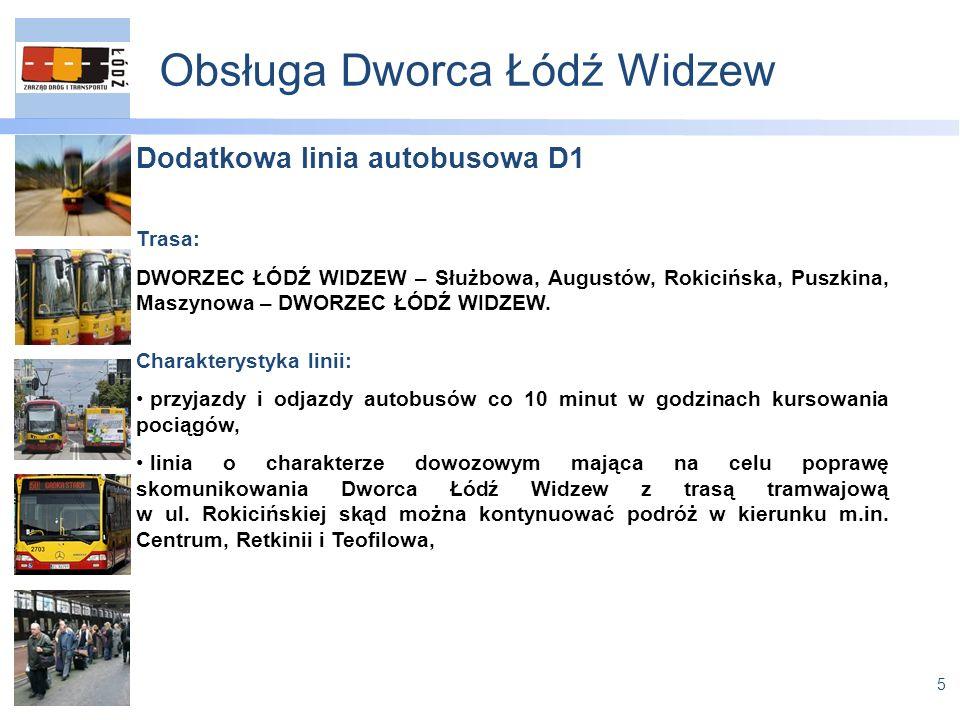 5 Obsługa Dworca Łódź Widzew Dodatkowa linia autobusowa D1 Trasa: DWORZEC ŁÓDŹ WIDZEW – Służbowa, Augustów, Rokicińska, Puszkina, Maszynowa – DWORZEC ŁÓDŹ WIDZEW.