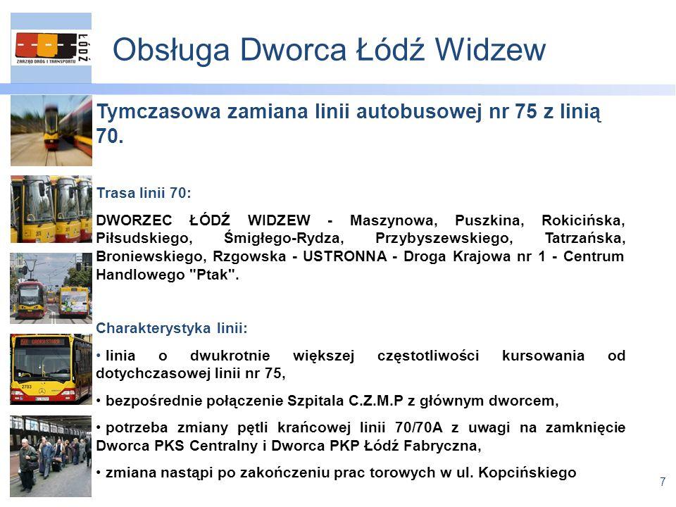 7 Obsługa Dworca Łódź Widzew Tymczasowa zamiana linii autobusowej nr 75 z linią 70.