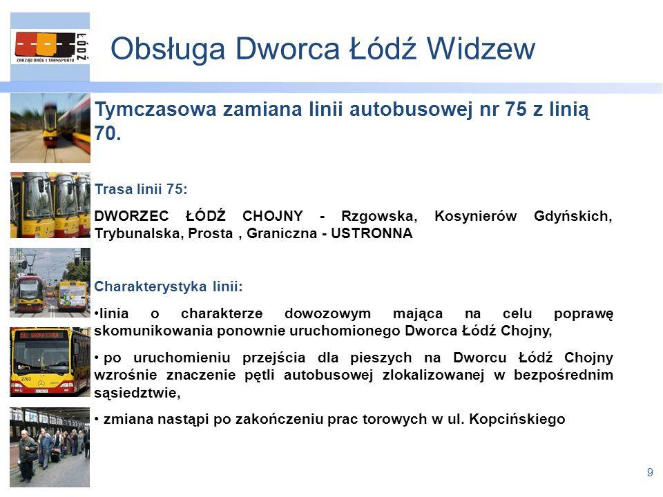 9 Obsługa Dworca Łódź Widzew Tymczasowa zamiana linii autobusowej nr 75 z linią 70.