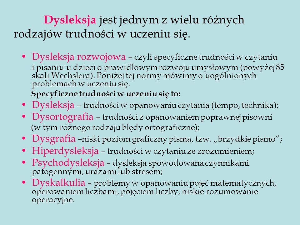 Dysleksja rozwojowa – czyli specyficzne trudności w czytaniu i pisaniu u dzieci o prawidłowym rozwoju umysłowym (powyżej 85 skali Wechslera). Poniżej