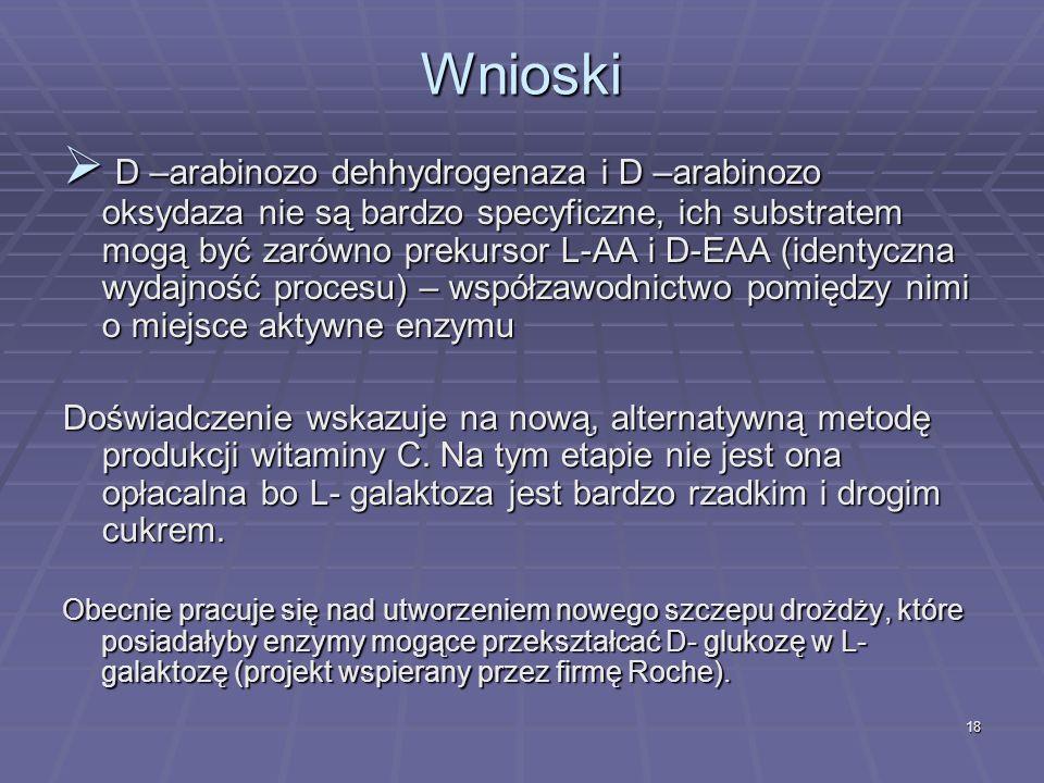 18 Wnioski D –arabinozo dehhydrogenaza i D –arabinozo oksydaza nie są bardzo specyficzne, ich substratem mogą być zarówno prekursor L-AA i D-EAA (iden