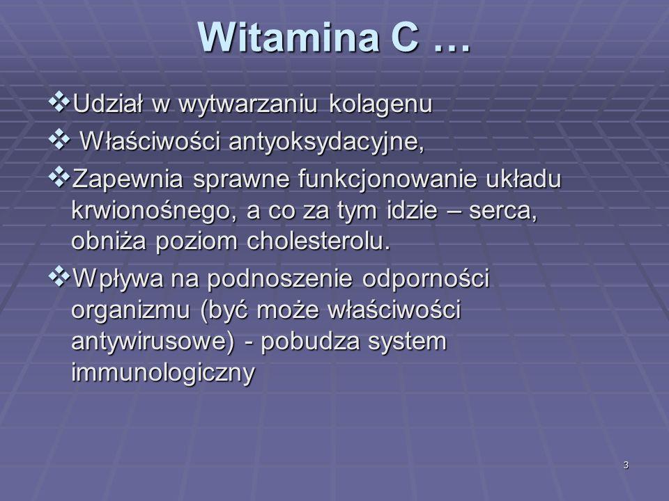 3 Witamina C … Udział w wytwarzaniu kolagenu Udział w wytwarzaniu kolagenu Właściwości antyoksydacyjne, Właściwości antyoksydacyjne, Zapewnia sprawne