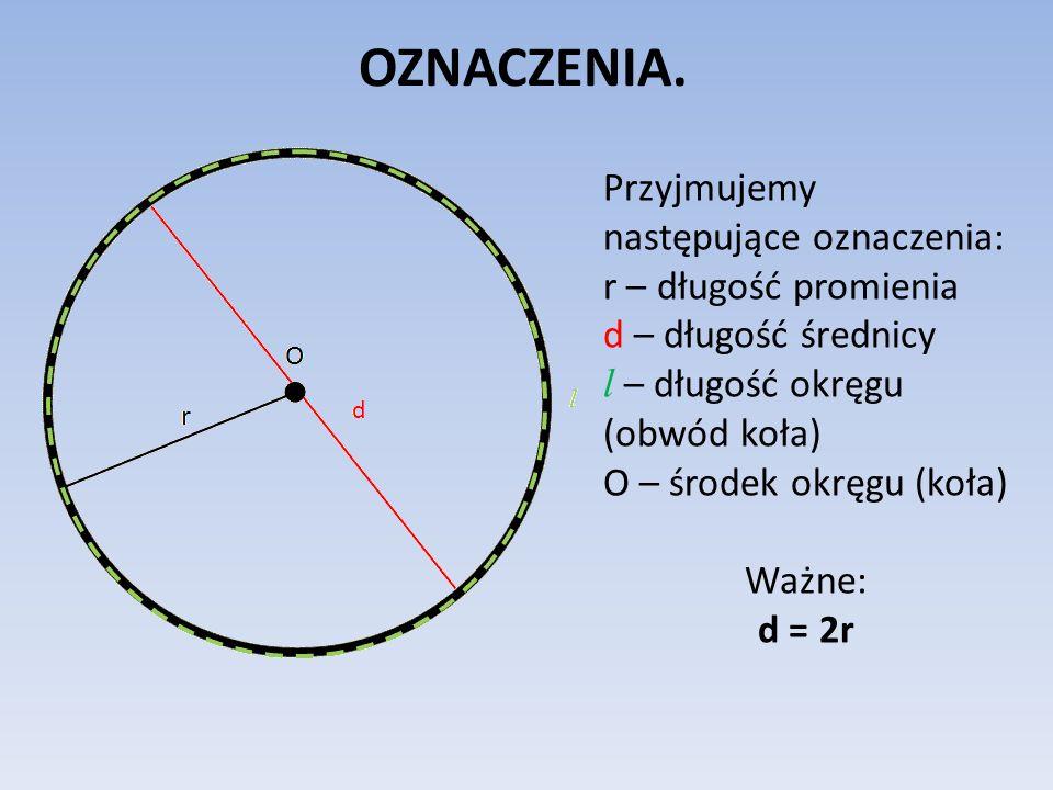 OZNACZENIA. Przyjmujemy następujące oznaczenia: r – długość promienia d – długość średnicy l – długość okręgu (obwód koła) O – środek okręgu (koła) Wa