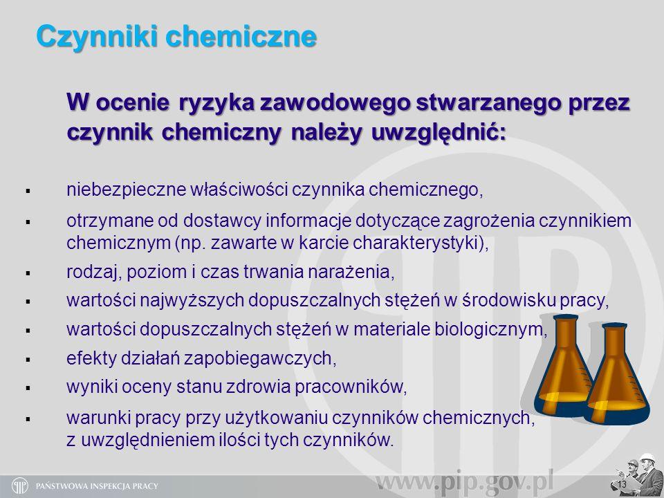 13 W ocenie ryzyka zawodowego stwarzanego przez czynnik chemiczny należy uwzględnić: niebezpieczne właściwości czynnika chemicznego, otrzymane od dost