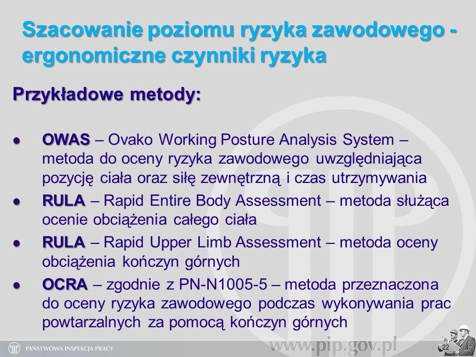 22 Przykładowe metody: OWAS OWAS – Ovako Working Posture Analysis System – metoda do oceny ryzyka zawodowego uwzględniająca pozycję ciała oraz siłę ze
