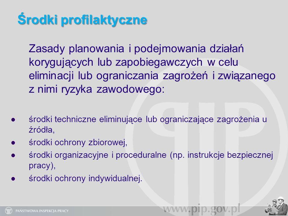 26 Środki profilaktyczne Zasady planowania i podejmowania działań korygujących lub zapobiegawczych w celu eliminacji lub ograniczania zagrożeń i związ