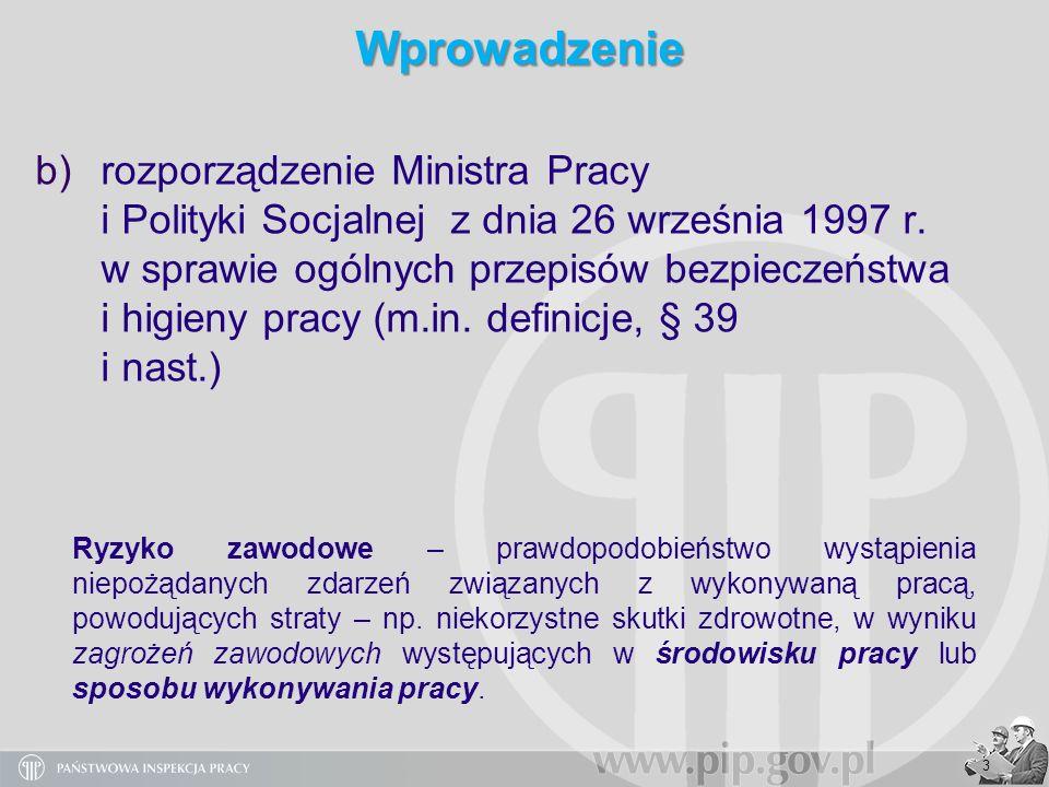 44 Wykaz istotnych przepisów prawnych dotyczących oceny ryzyka zawodowego Ustawa z dnia 26 czerwca 1974 roku Kodeks pracy (t.j.