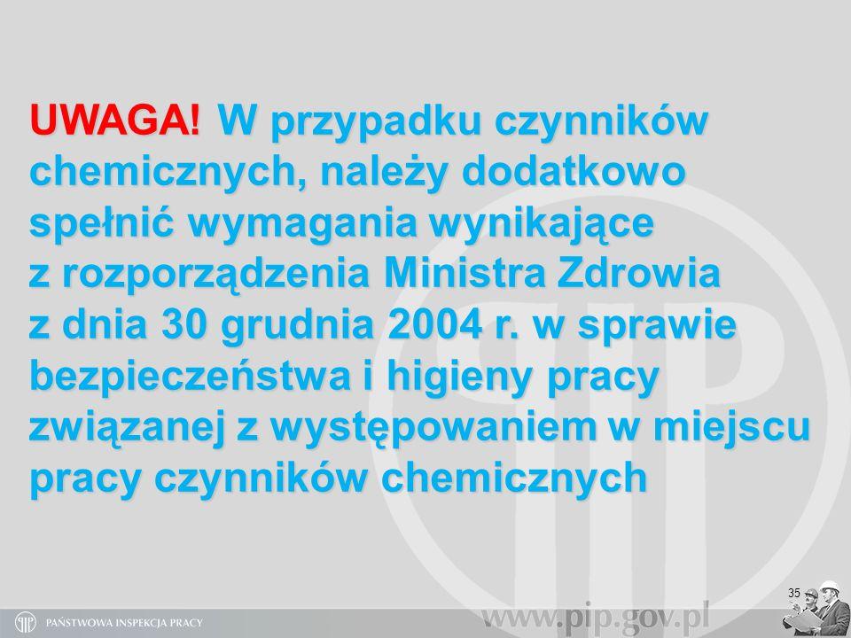 35 UWAGA! W przypadku czynników chemicznych, należy dodatkowo spełnić wymagania wynikające z rozporządzenia Ministra Zdrowia z dnia 30 grudnia 2004 r.