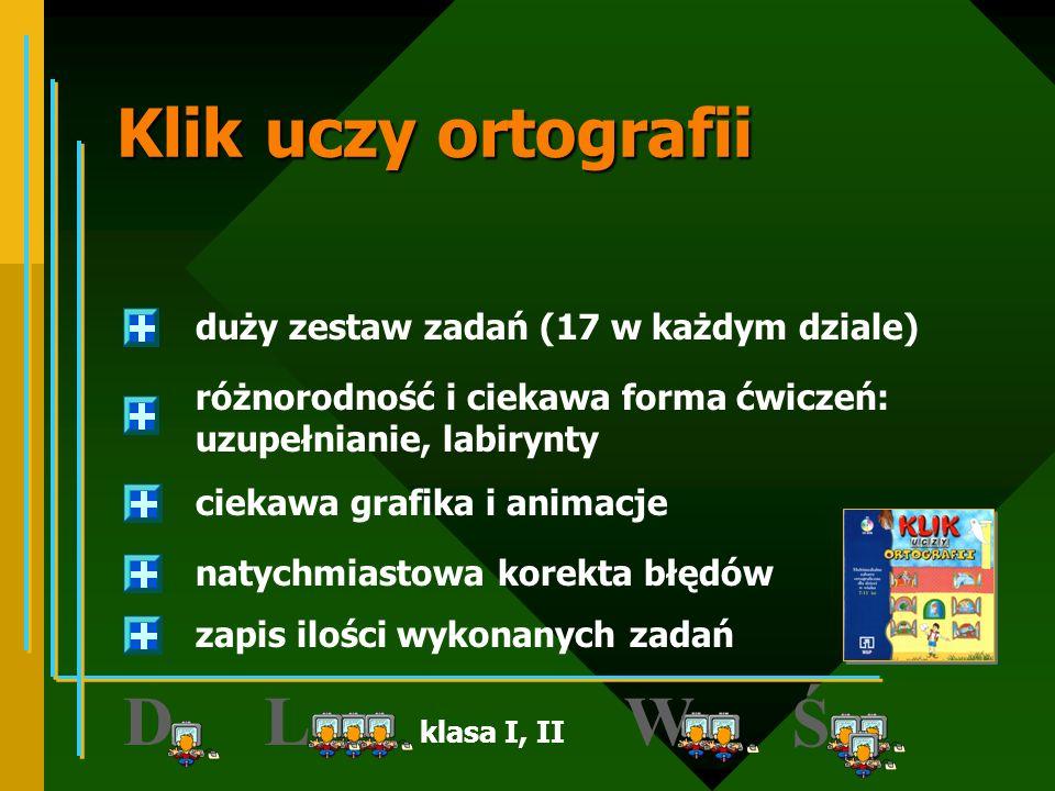 JĘZYK POLSKI klasa I, II, III INTERsoft http://www.intersoft.com.pl z serii Smok Softuś