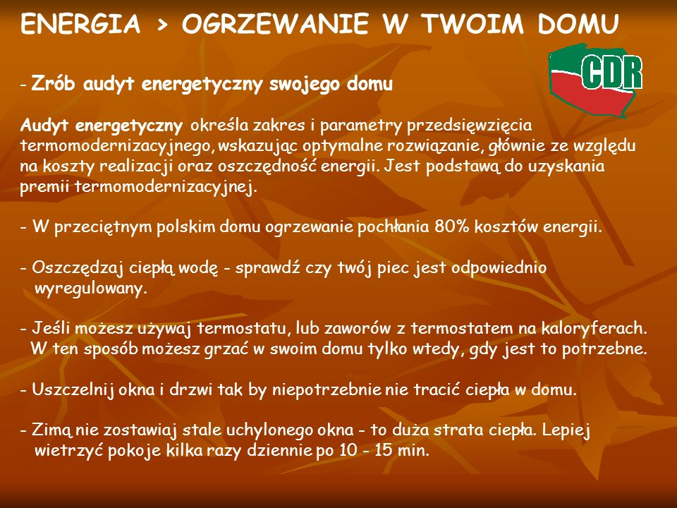 ENERGIA > OGRZEWANIE W TWOIM DOMU - Zrób audyt energetyczny swojego domu Audyt energetyczny określa zakres i parametry przedsięwzięcia termomodernizac