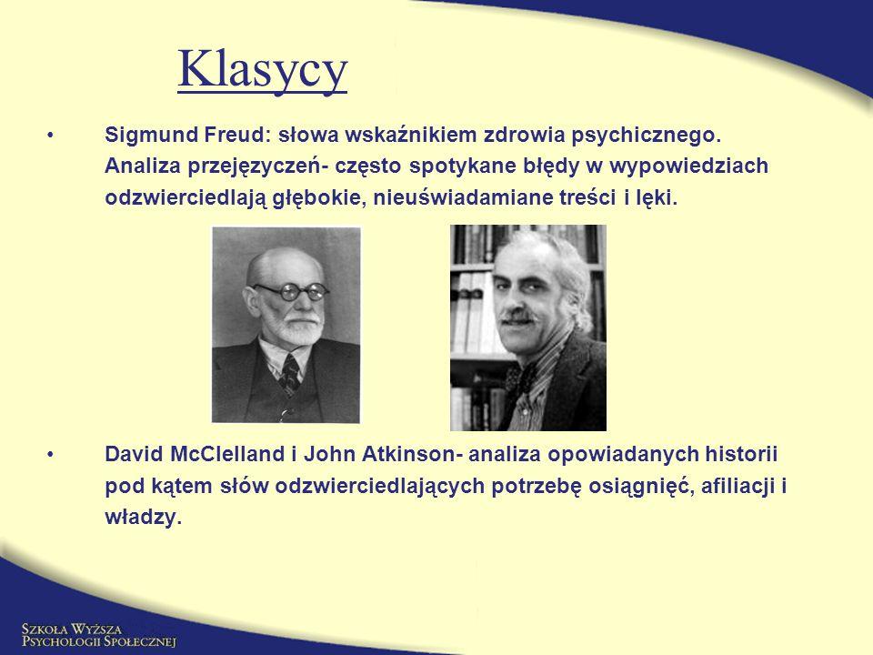Klasycy Sigmund Freud: słowa wskaźnikiem zdrowia psychicznego.