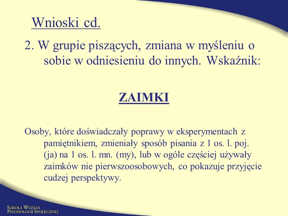 Dziękuję polecam stronę: http://www.psy.utexas.edu/Pennebaker/ bszymczyk@st.swps.edu.pl