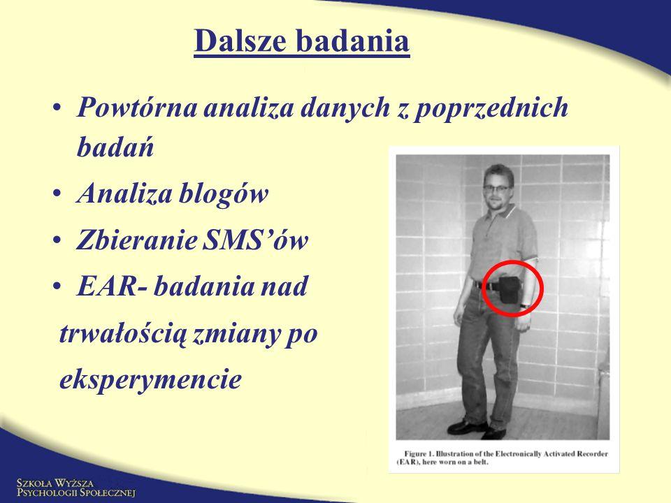 Powtórna analiza danych z poprzednich badań Analiza blogów Zbieranie SMSów EAR- badania nad trwałością zmiany po eksperymencie Dalsze badania