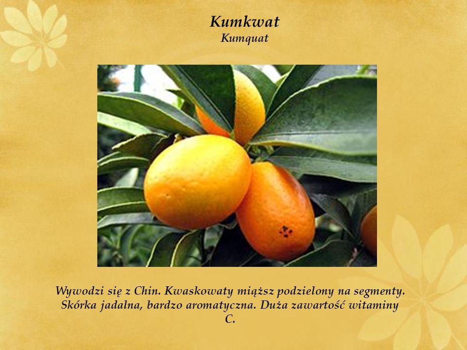 Kumkwat Kumquat Wywodzi się z Chin.Kwaskowaty miąższ podzielony na segmenty.