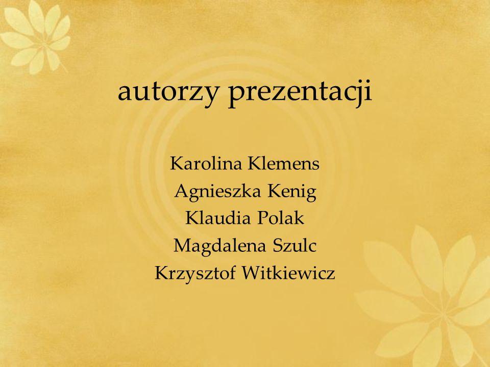 autorzy prezentacji Karolina Klemens Agnieszka Kenig Klaudia Polak Magdalena Szulc Krzysztof Witkiewicz