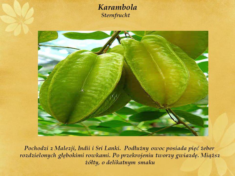 Flaszowiec peruwiański Peruanischen Vanillesauce Występuje w Peru, Ekwadorze, Kolumbii i Boliwii Miąższ o łagodnym słodko-kwaśnym smaku podobnym do mieszanki ananasa, mango i truskawki.