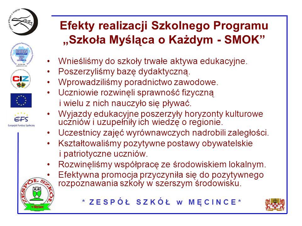 * Z E S P Ó Ł S Z K Ó Ł w M Ę C I N C E * Efekty realizacji Szkolnego Programu Szkoła Myśląca o Każdym - SMOK Wnieśliśmy do szkoły trwałe aktywa edukacyjne.