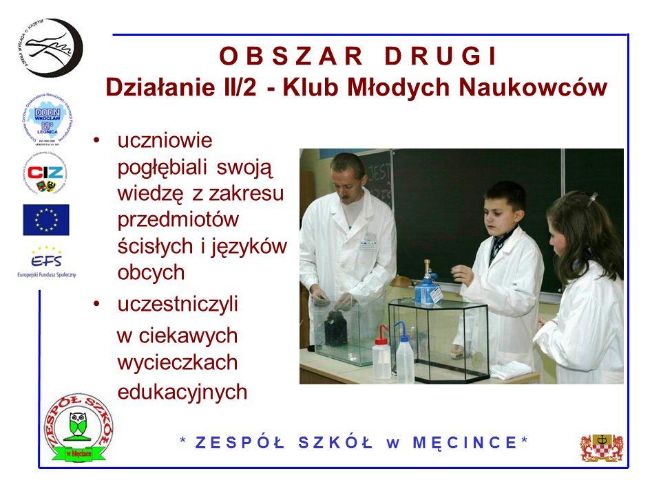 * Z E S P Ó Ł S Z K Ó Ł w M Ę C I N C E * O B S Z A R D R U G I Działanie II/2 - Klub Młodych Naukowców uczniowie pogłębiali swoją wiedzę z zakresu przedmiotów ścisłych i języków obcych uczestniczyli w ciekawych wycieczkach edukacyjnych