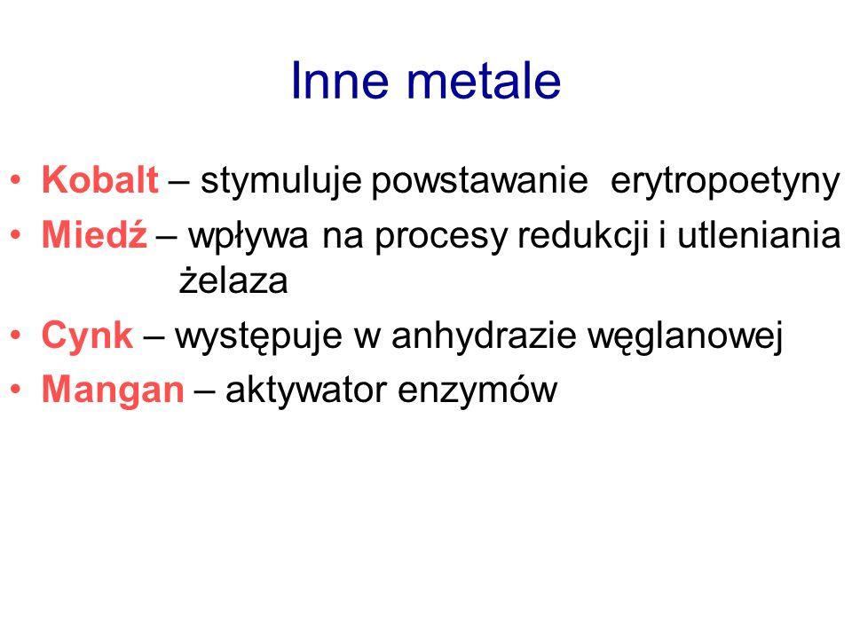 Inne metale Kobalt – stymuluje powstawanie erytropoetyny Miedź – wpływa na procesy redukcji i utleniania żelaza Cynk – występuje w anhydrazie węglanow